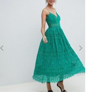 ASOS TALL Kelly Green Lace Cami Midi Prom Dress
